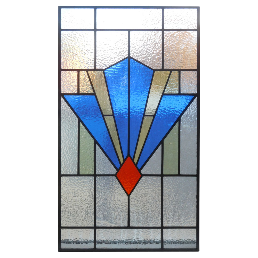 1930 art deco stained glass panel from period home style