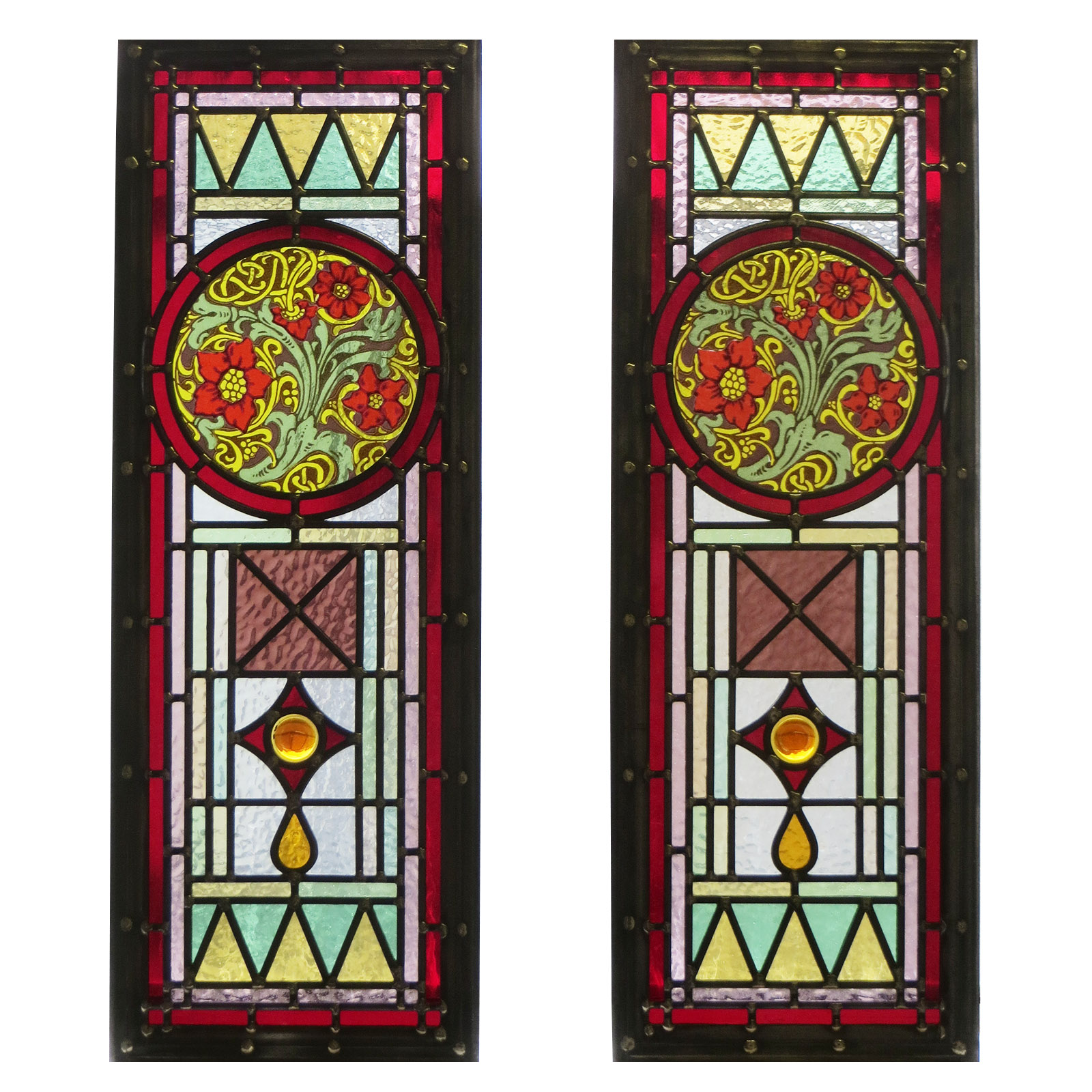 intricate art deco stained glass panels from period home. Black Bedroom Furniture Sets. Home Design Ideas