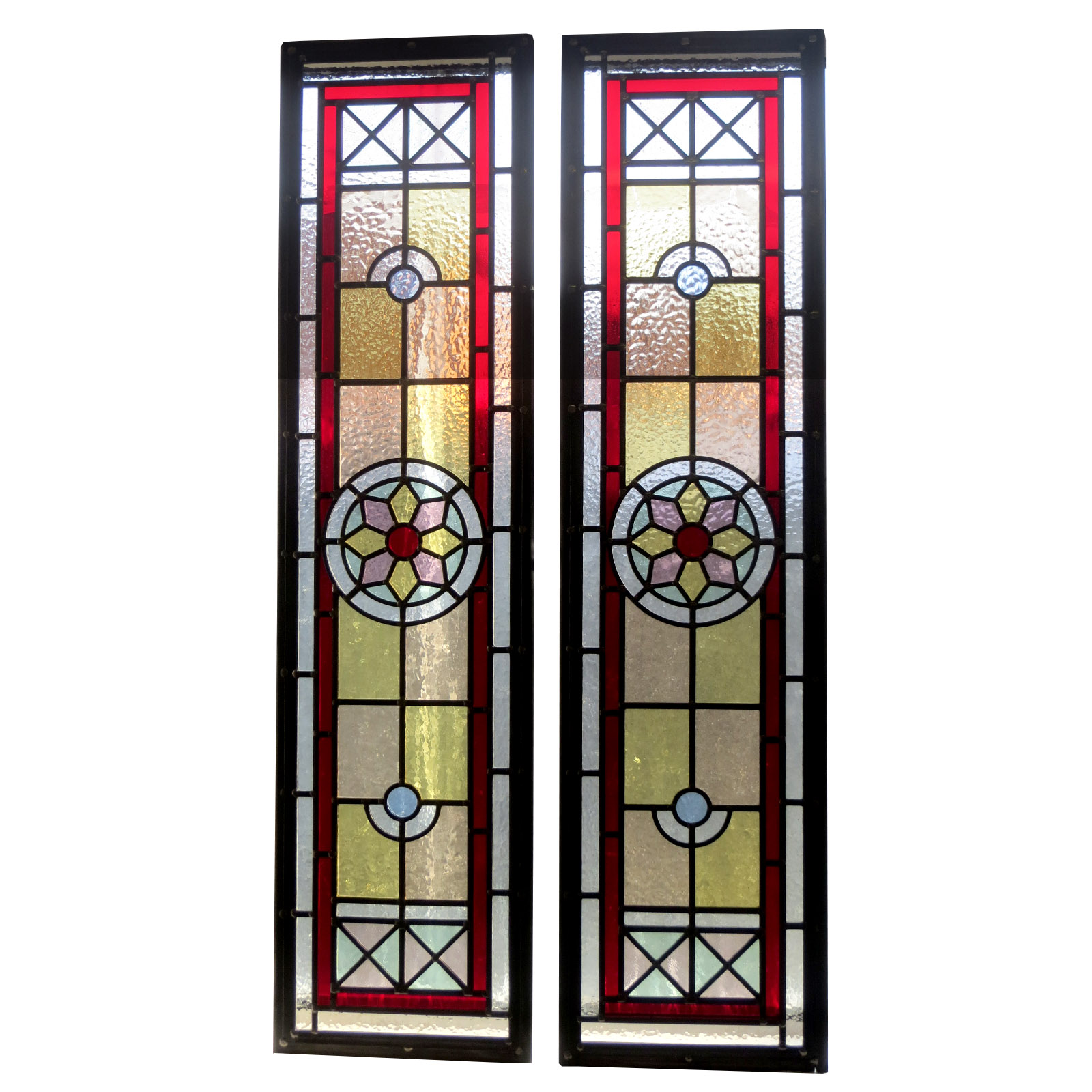 Red Star Stained Glass Panels From Period Home Style