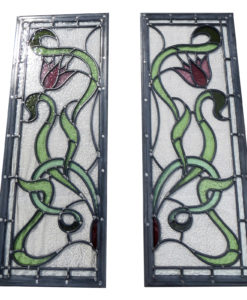 Intricate Art Nouveau Stained Glass Panels