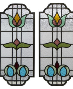 Floral Art Nouveau Stained Glass Panels