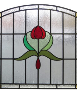 Arched Art Nouveau Stained Glass Panel