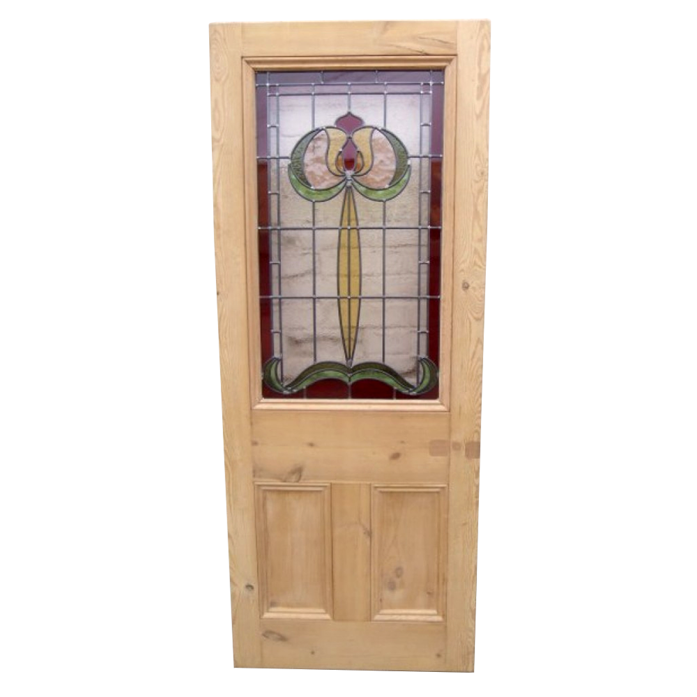 Art nouveau stained glass door from period home style for Beveled glass doors