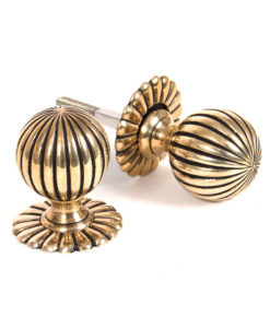 Polished Brass Flower Mortice Knob Set