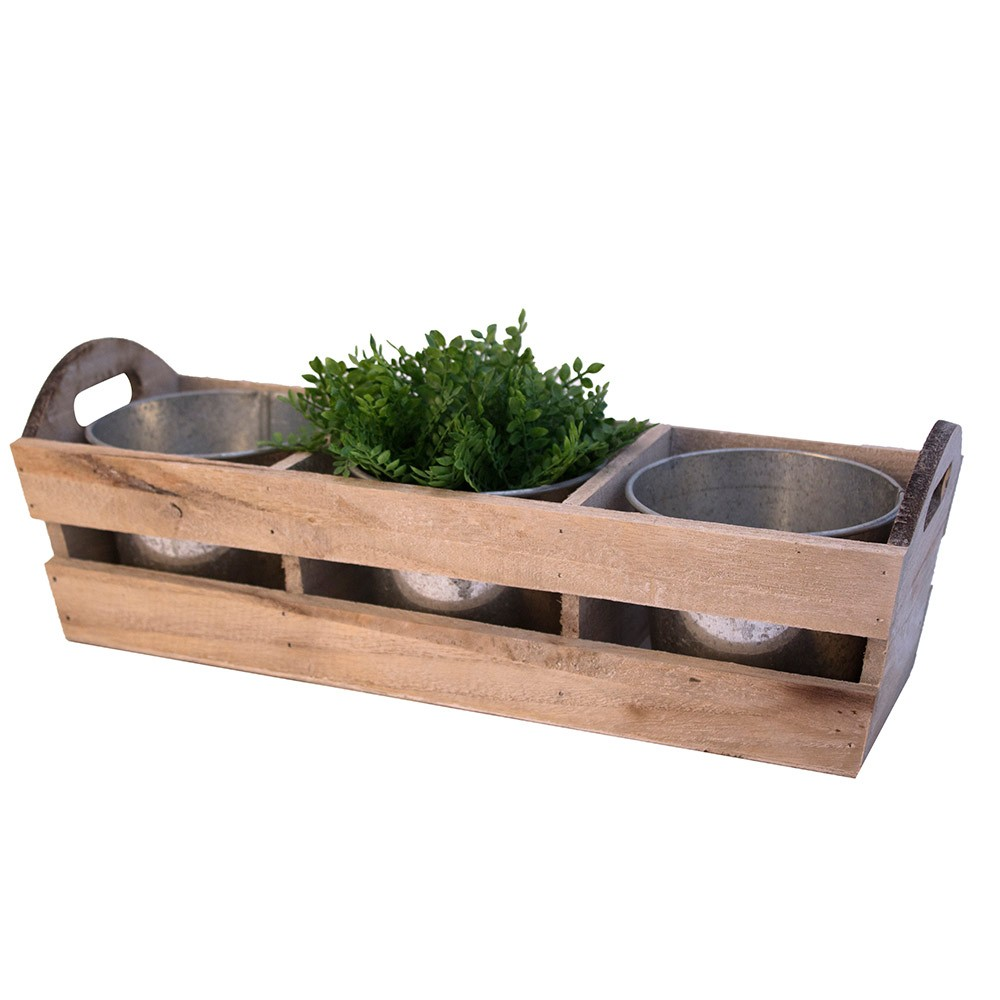 Trug With 3 Round Antique Zinc Pots Period Home Style