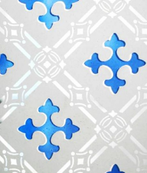 Blue Druids Cross Etched Glass