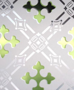 Green Druids Cross Etched Glass