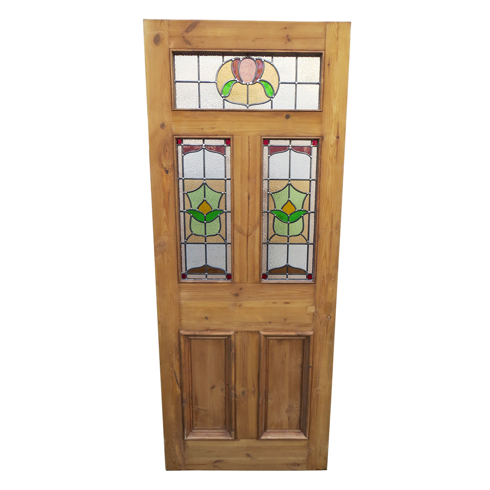 Original 5 panel stained glass door period home style for Glass doors for home