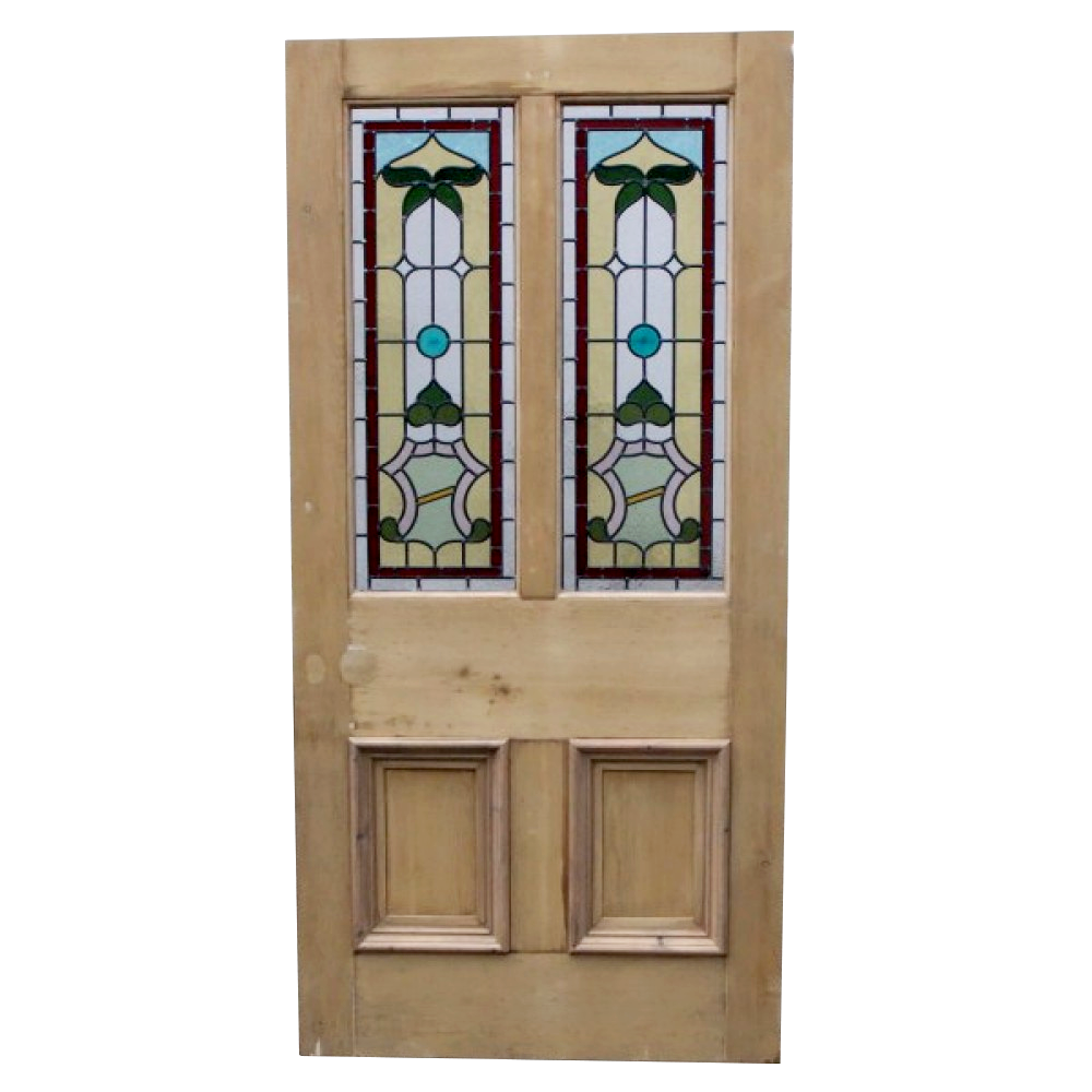 Ornate 4 panel stained glass door from period home style for Glass entry doors for home