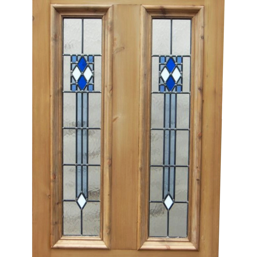 Art deco 4 panel stained glass door period home style for Front door glass panels