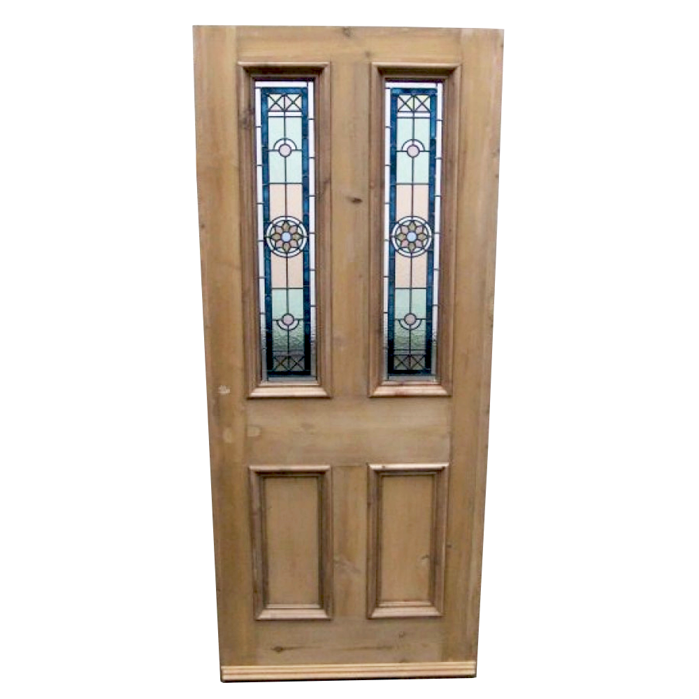 Edwardian star stained glass door period home style for Glass doors for home