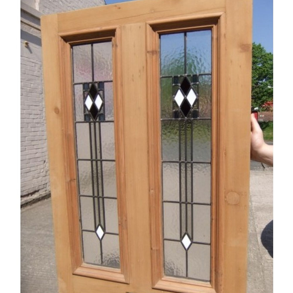 4 panel art deco stained glass door period home style for Art glass windows and doors