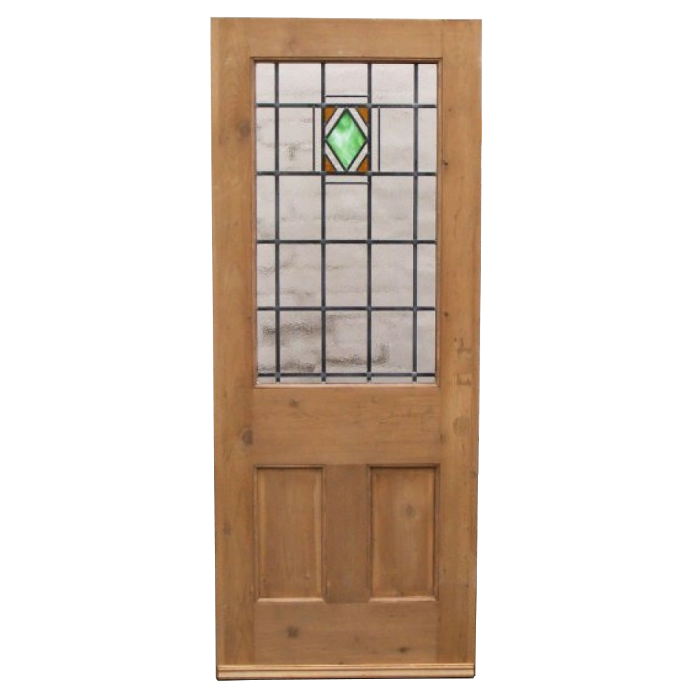 3 panel art deco stained glass door period home style for Glass doors for home