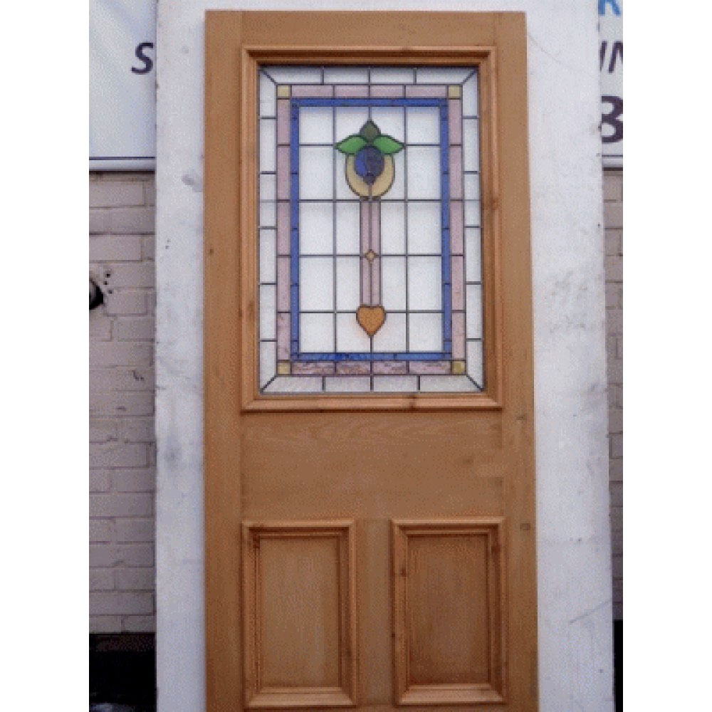 Green Painted Front Doors With Stained Glass