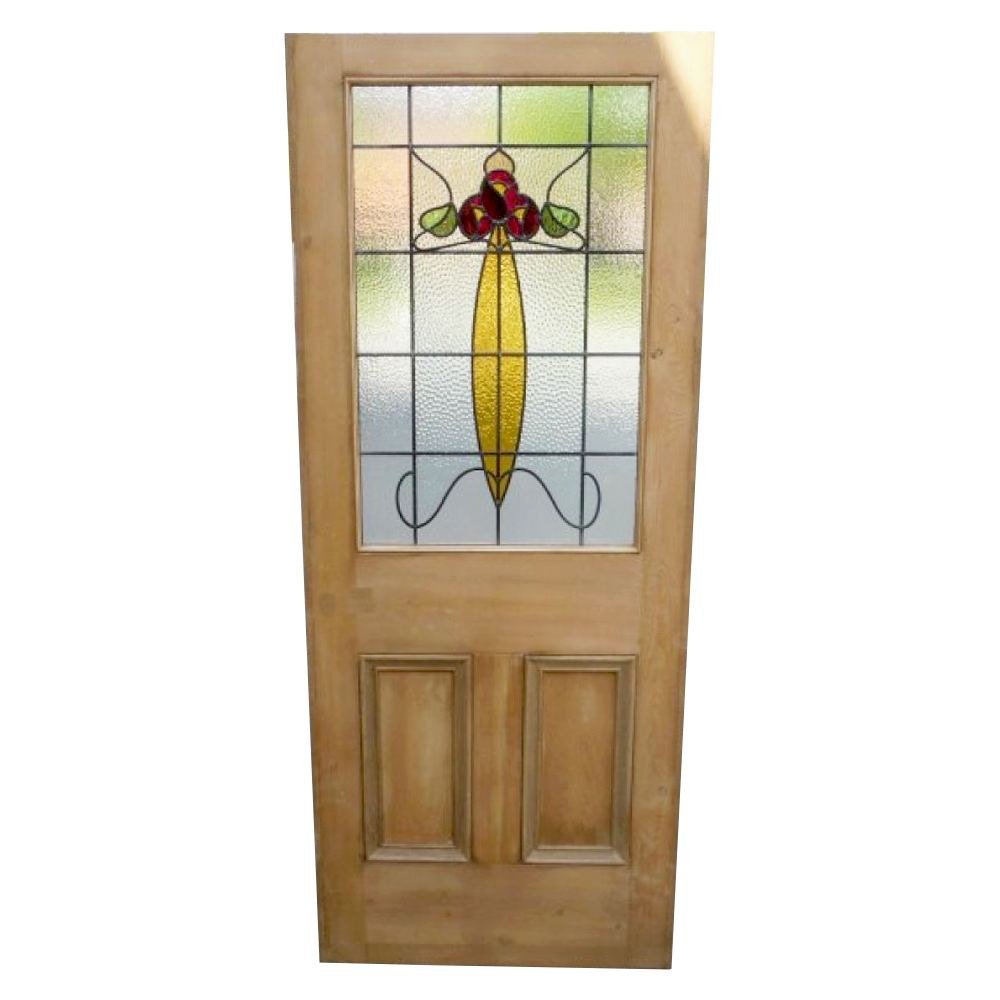 art nouveau 3 panel stained glass door period home style