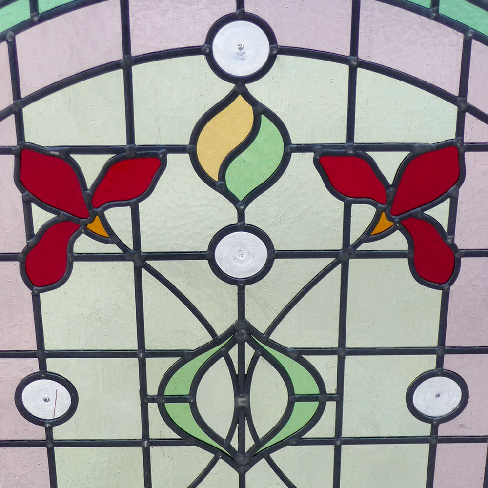 Detailed Art Nouveau Stained Glass Panel From Period