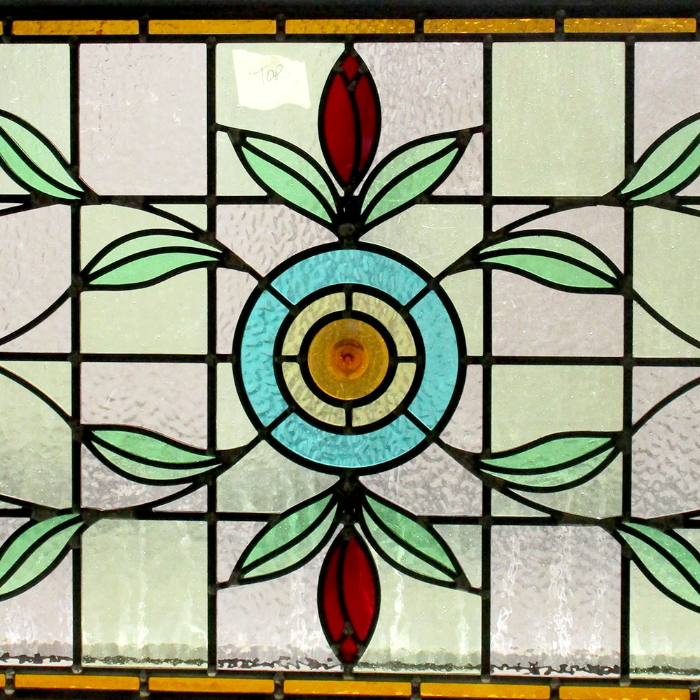 Intricate Floral Art Nouveau Stained Glass Panel From