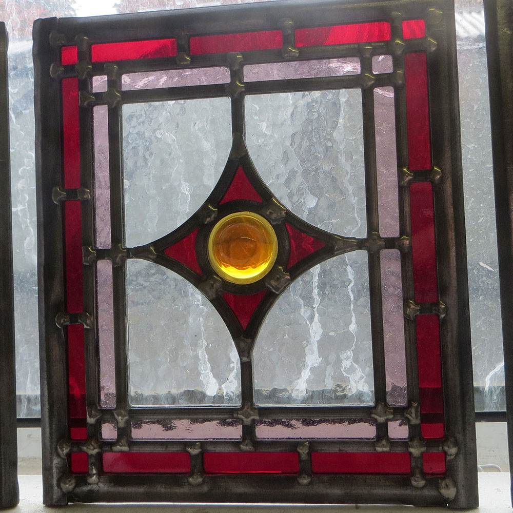 Edwardian Square Stained Glass Panels From Period Home Style