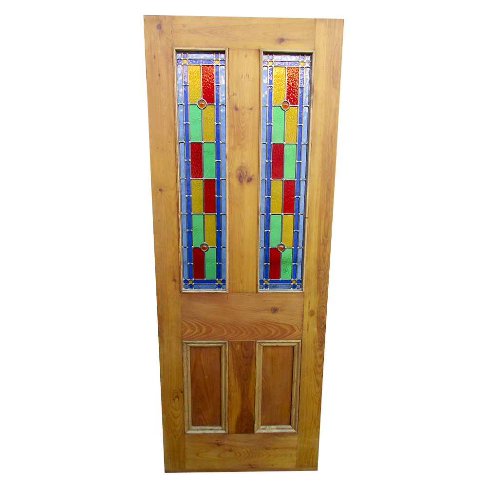 4 Panel Bullseye Stained Glass Interior Door Period Home