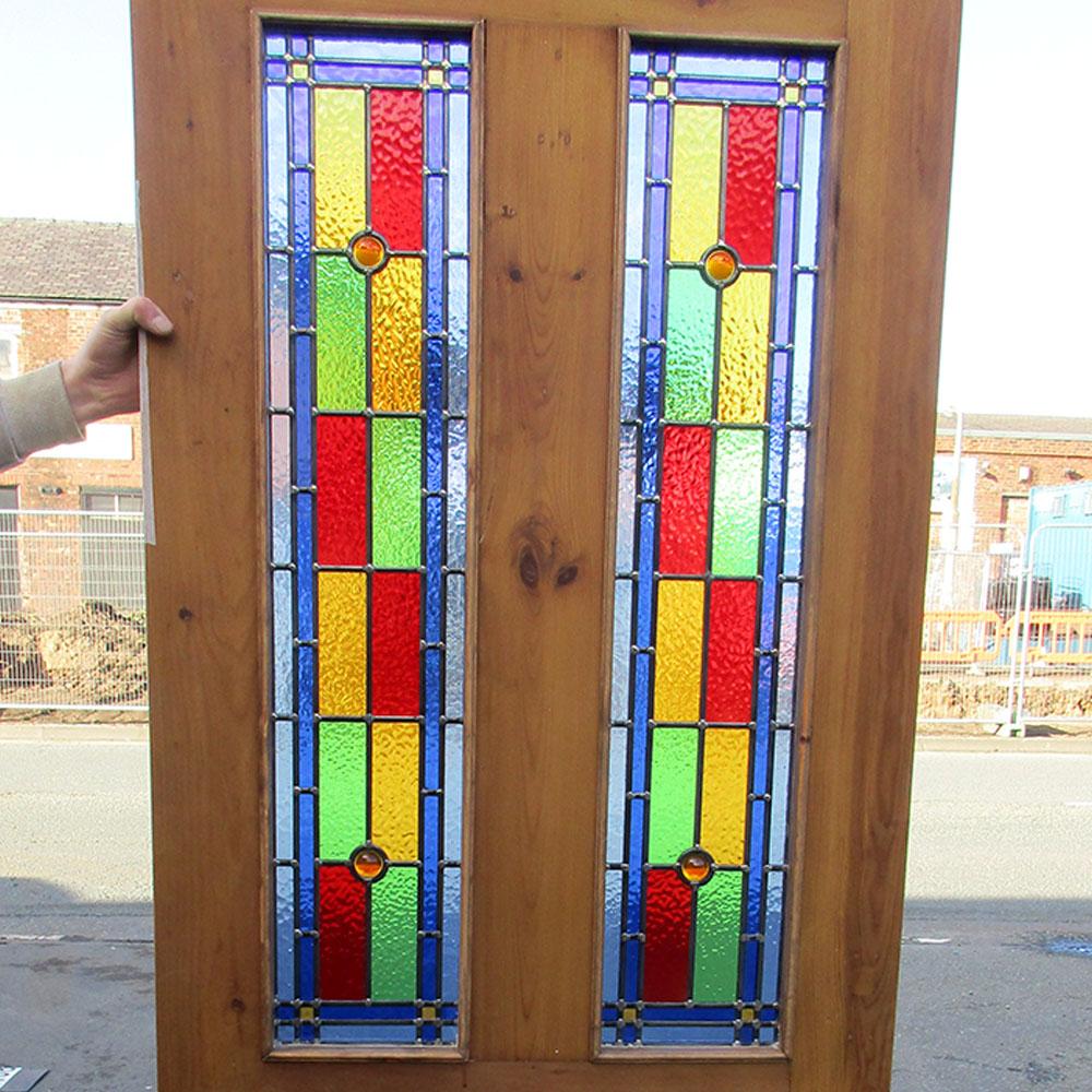 Stained glass interior doors - 4 Panel Bullseye Stained Glass Interior Door