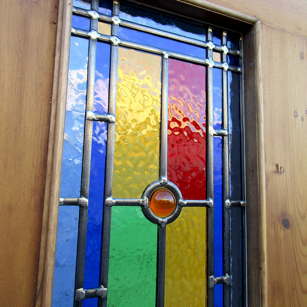 4 Panel Bullseye Stained Glass Interior Door Period Home Style