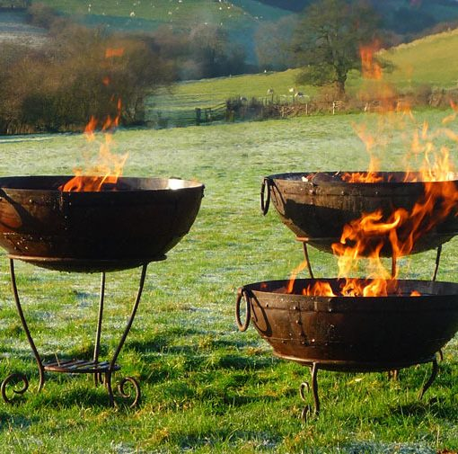 Recycled Kadai Fire Bowl Set With Low Stand