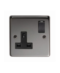 Black Nickel Single 13 Amp Switched Socket