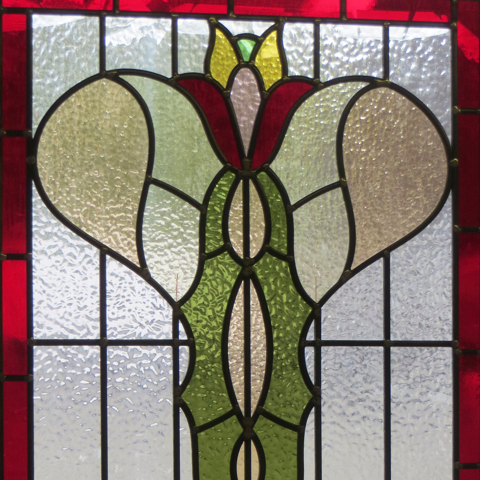 Art Nouveau Stained Glass Panel From Period Home Style