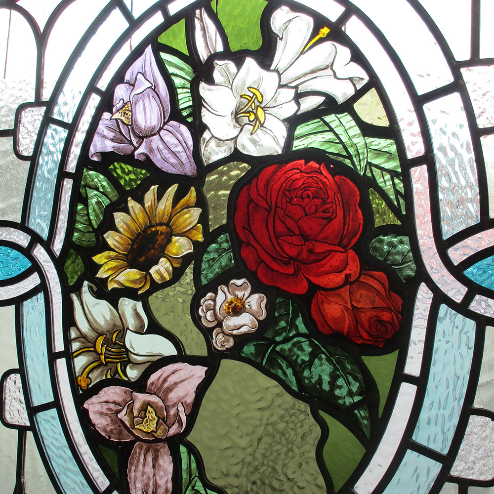 Highly Intricate Victorian Stained Glass Panel From