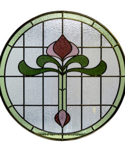1930s Art Nouveau Stained Glass Panel
