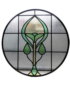 1930s Deco Stained Glass Panel