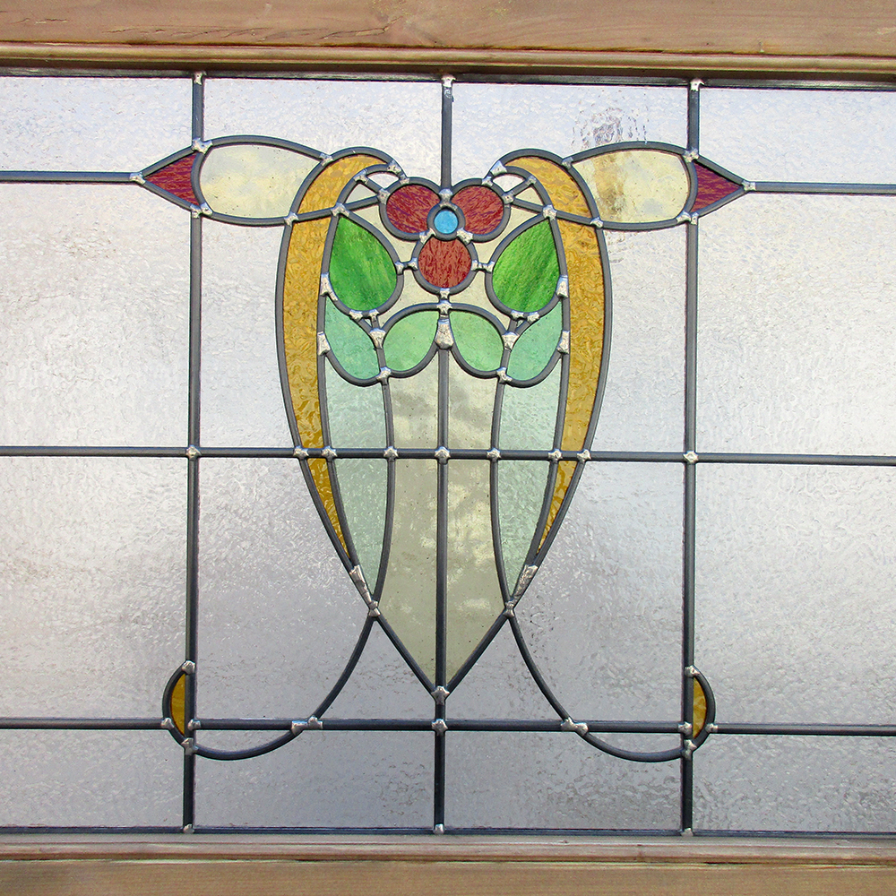 Art nouveau 1930s stained glass panel from period home style for 1930s stained glass window designs