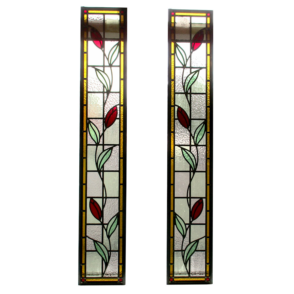 Edwardian Floral Stained Glass Panels From Period Home Style