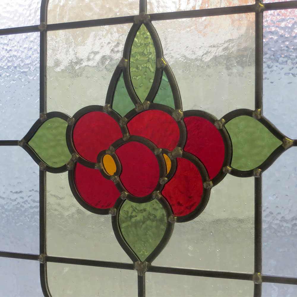 Floral 1930 Stained Glass Panel From Period Home Style