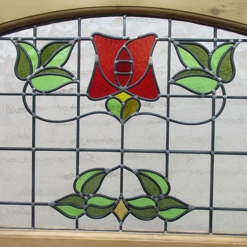 1930s blooming stained glass panel from period home style for 1930s stained glass window designs