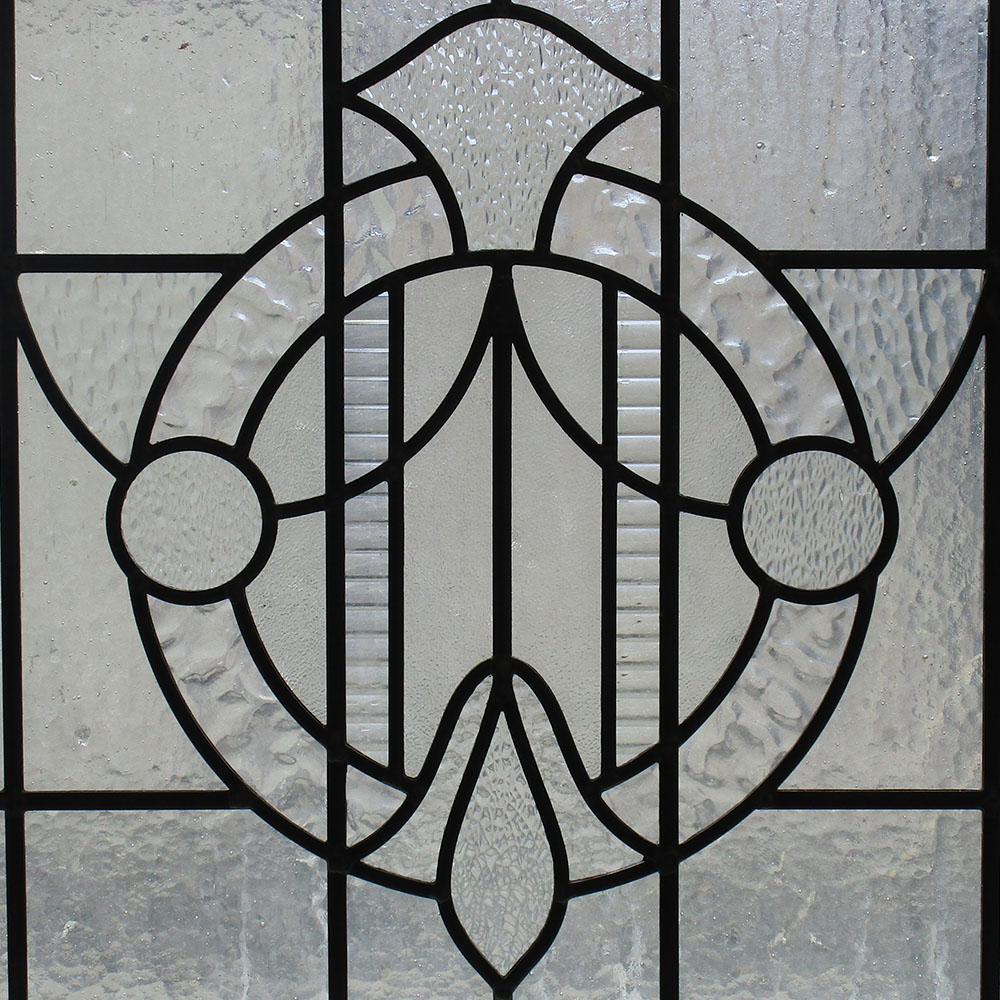Plain stained glass 1930s panel from period home style for 1930s stained glass window designs