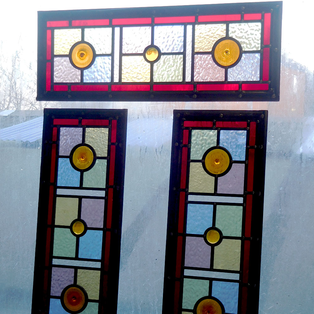 Simple Victorian Stained Glass Panels From Period Home Style