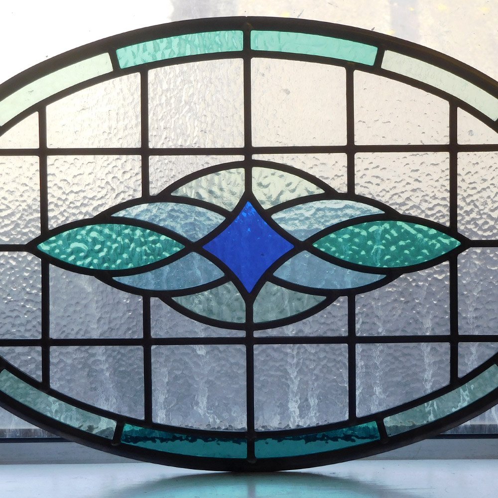 Round contemporary stained glass panel from period home for Contemporary stained glass