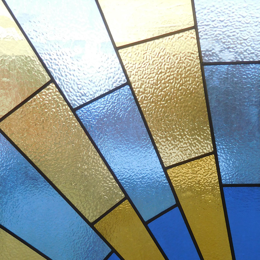 1930s Sunrise Stained Glass Panel From Period Home Style