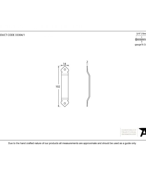 Beeswax Screw-on Thumblatch Staple (Gothic End)