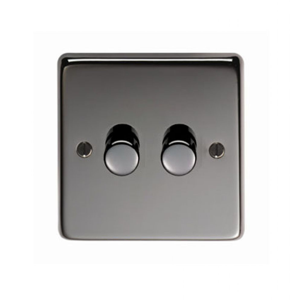 black nickel double 400w dimmer switch period home style. Black Bedroom Furniture Sets. Home Design Ideas