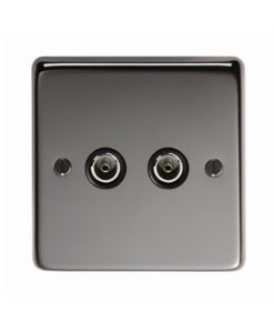 Black Nickel Double TV Socket