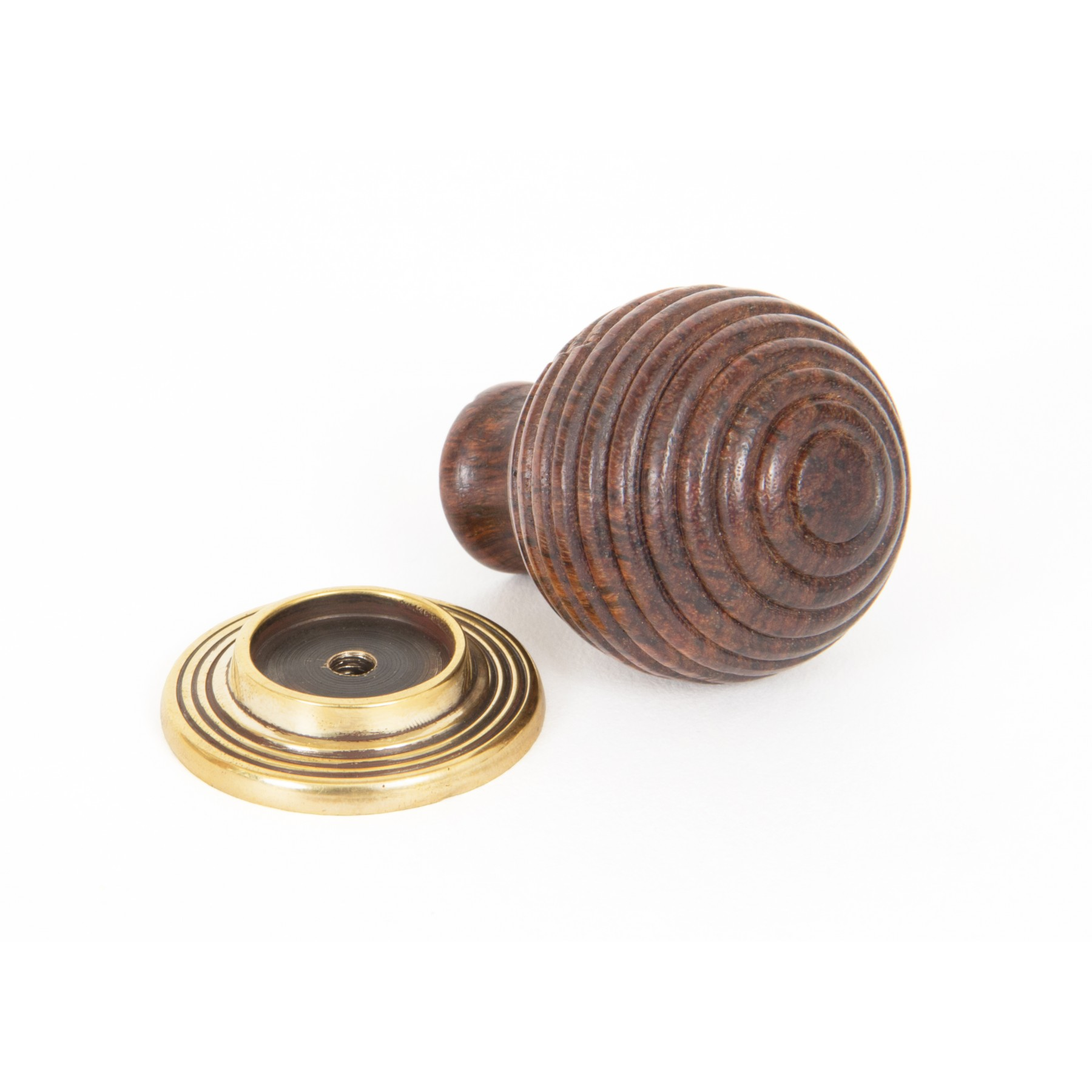 Large Rosewood & Antique Brass Beehive Knob