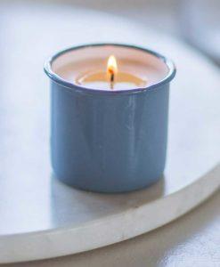 Enamel Bergamot Candle Pot In Dorset Blue