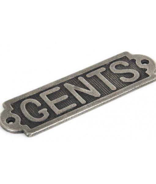 Antique Pewter Gents Door Sign