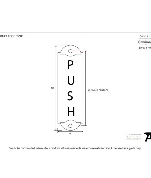 Antique Pewter Push Door Sign