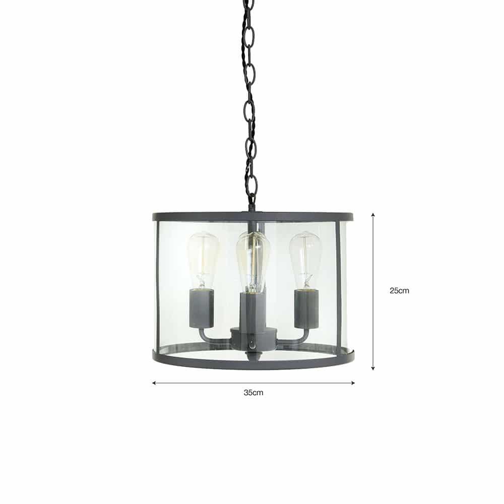 Cadogan 4 Pendant Light In Charcoal (Steel & Glass