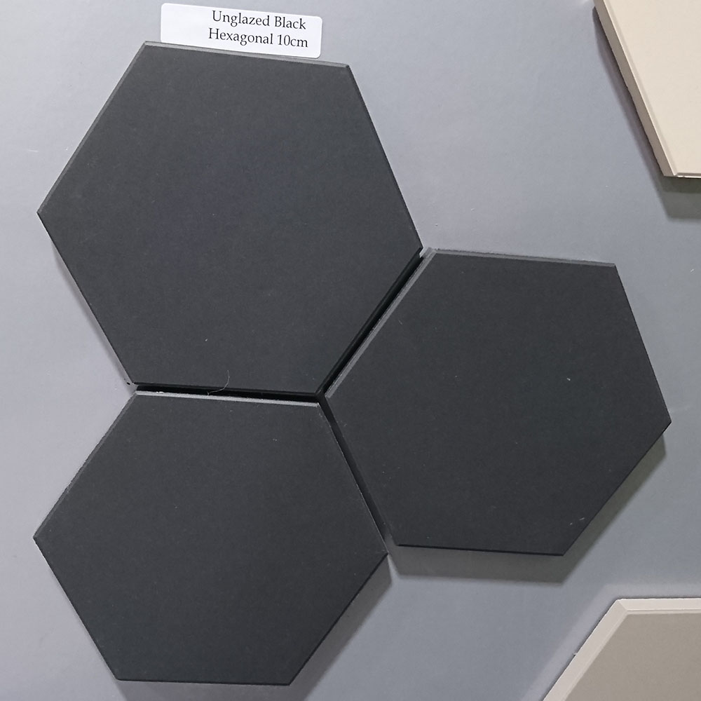 Black Unglazed Hexagonal Ceramic Tiles From Period Home