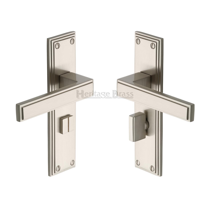 Heritage Brass Door Handle Lever Lock Atlantis Design Antique finish ATL5700-AT