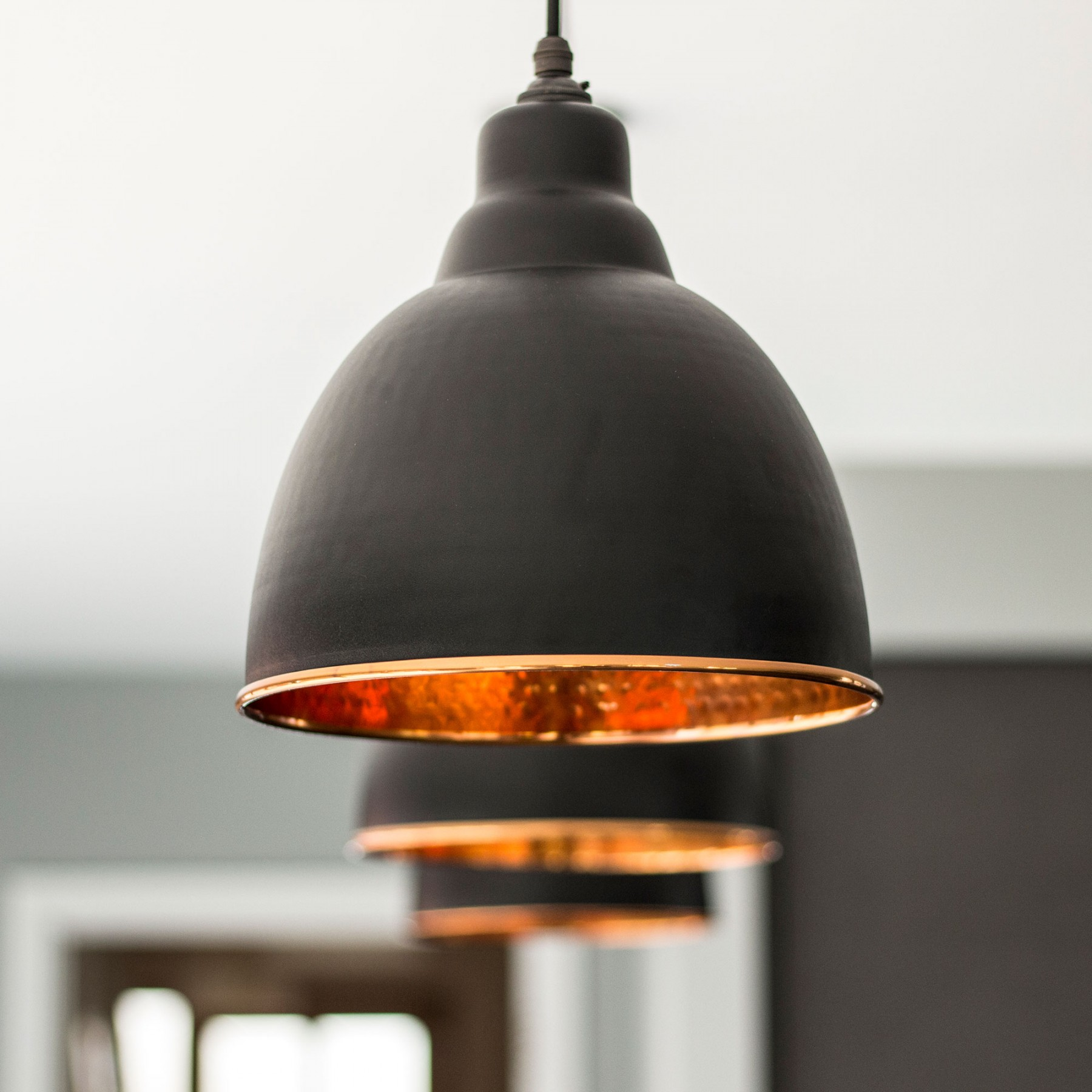 Copper Room Decor Brindley Pendant Light In Black Amp Hammered Copper Period